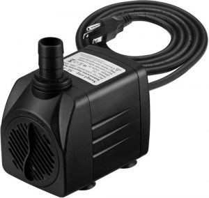 The Homasy 400GPH Submersible Pump is a great little fountain pump to consider for your DIY project. The pump has a capacity of 400 liters per hour, is suitable for a wide variety of applications and is perfect for indoor or outdoor fountains. One of the main features of the pump is water flow control. Flow is easy to set with a button, so you can set the desired pressure. The maximum flow is 400 GPH, which is more than sufficient for most applications. Another great feature is the presence of four suction cups on the bottom of the pump. These cups hold the pump in place and are easy to stick to glass or other smooth surfaces, both vertically and horizontally. This allows you to hide the pump between plants to improve the design. Because the pump also provides air circulation and oxygenation of the water, it is suitable for <a href=